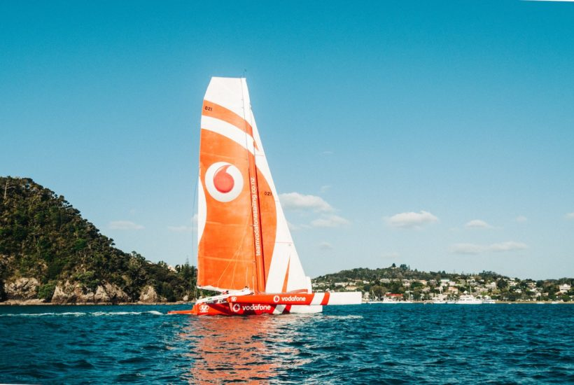 This picture show a sailboat with a Vodafone logo.