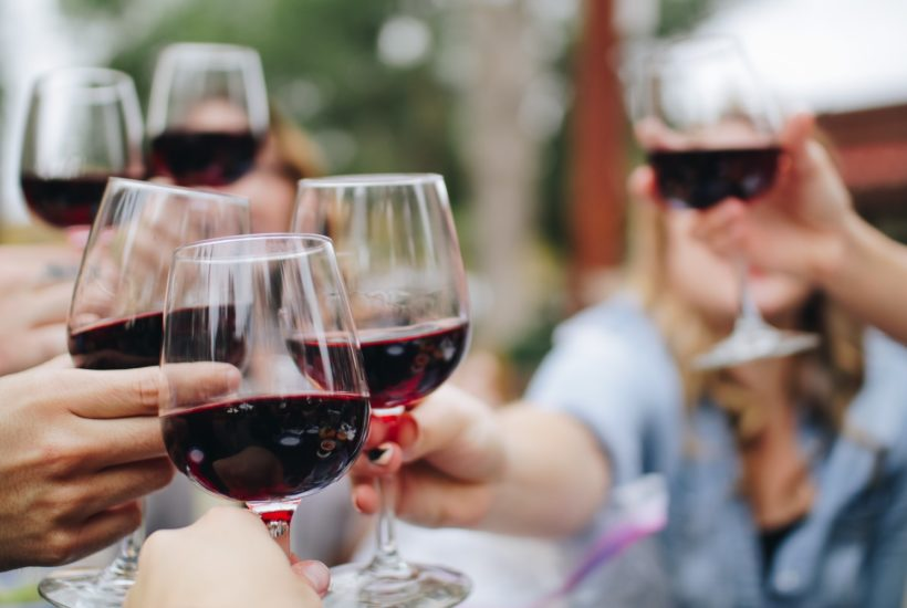 This picture show a group of people drinking wine.