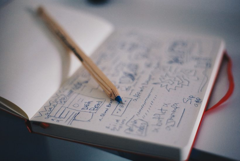 This picture show a notebook with some innovation ideas.