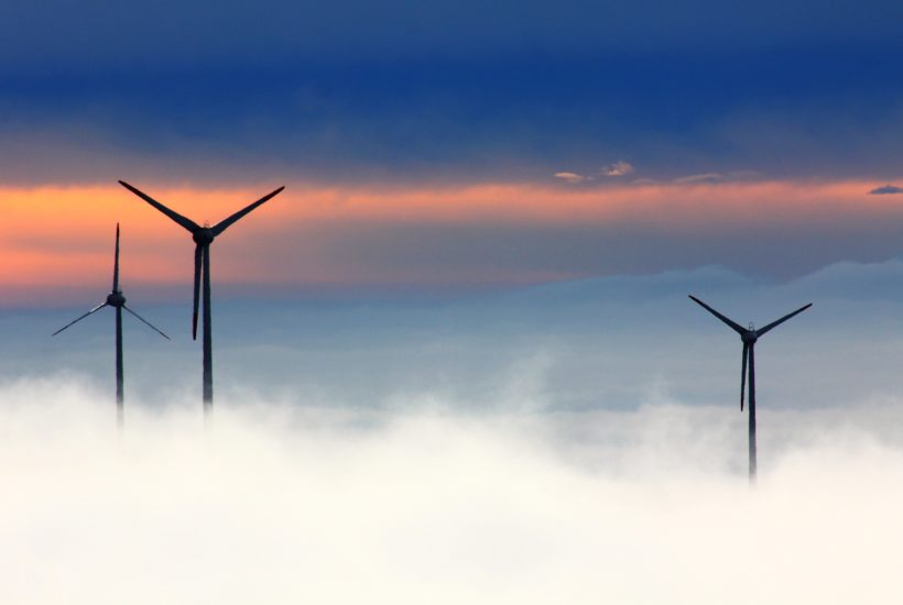 This picture show some wind turbines.