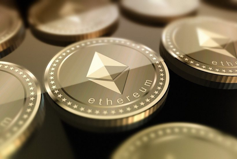 This picture show a Ethereum coin.