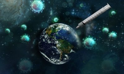This picture show a vaccine and the earth.