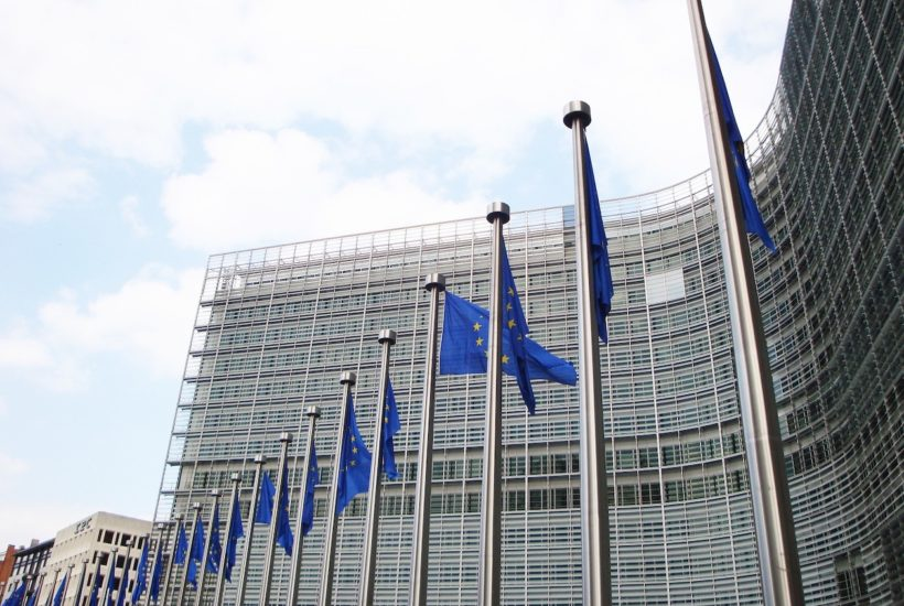 This picture show a couple of EU flags.