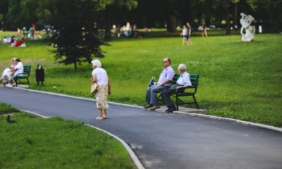 This picture show some elders on a park.